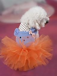 Dog Dress Orange / White Dog Clothes Summer / Spring/Fall Cartoon Fashion / Holiday