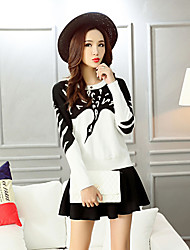 Women's Print Red / White / Black Set,Cute / Street chic Long Sleeve