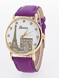дамы часы Эйфелева башня Puerta ремень кварцевые часы циферблат