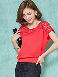 Women's Patchwork Red / White / Black / Yellow Blouse,Round Neck Short Sleeve