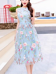 Women's Sexy / Boho Swing Dress,Floral Round Neck Midi Sleeveless Blue Silk / Polyester Summer High Rise