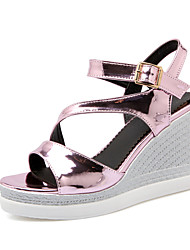 Women's Shoes PU Wedge Heel Wedges / Platform / Pointed Toe Sandals Office & Career / Casual Pink / Silver / Champagne