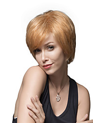 Elegance Layered Woman's Capless Short Straight Remy Human Hair Hand Tied Top wigs