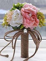Vintage Forest Rope Handle Bridal Hand Holding Wedding Flower