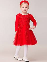 Ball Gown Knee-length Flower Girl Dress - Rayon Long Sleeve Jewel with