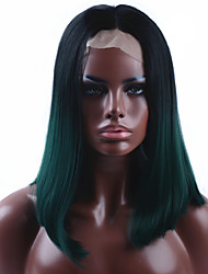 Ombre Dark Green Straight Short Bob Synthetic Lace Front Wig Natural Black/Green Heat Resistant Hair Wig For Women