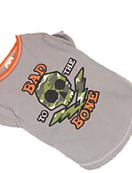 Chien Tee-shirt Vêtements pour Chien Cosplay Crânes Gris