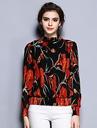 Women's Formal Vintage Summer Blouse,Print Turtleneck Long Sleeve Black Silk Thin