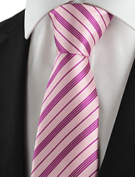KissTies Men's Tie Necktie Pink Striped Wedding/Business/Party/Work/Casual With Gift Box