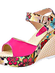 Women's Summer Wedges Leatherette Outdoor / Casual Wedge Heel Buckle Blue / Red / White / Beige