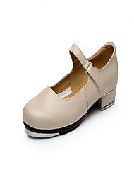 Non Customizable Women's Dance Shoes Tap Leather Low Heel Ivory