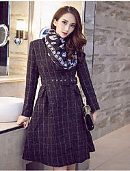 Women's Going out Simple Pea Coats,Plaid Cowl Long Sleeve Gray Polyester