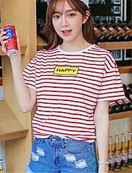 Damen Gestreift Street Schick Ausgehen T-shirt,Rundhalsausschnitt Kurzarm Blau / Rot Baumwolle Mittel