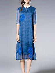 Women's Casual/Daily Simple A Line Dress,Print Shirt Collar Knee-length ½ Length Sleeve Blue Others Summer