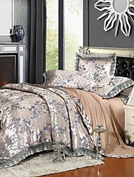 Bedding Set  Queen King Size Luxury Silk Cotton Blend Lace Duvet Cover Sets Jacquard Pattern
