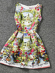 Girl's Yellow Dress,Print Polyester Summer