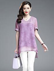 Mulheres Blusa Casual Plus Sizes / Moda de Rua Verão,Sólido Roxo Poliéster Decote Redondo Manga Curta Média
