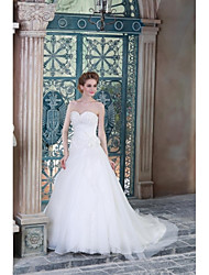 A-line Wedding Dress Sweep / Brush Train Sweetheart Organza / Satin with Appliques / Beading
