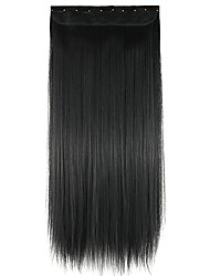 Wig Black 60CM High Temperature Wire Length Straight Hair Synthetic Hair Extension