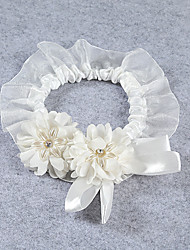 Garter Stretch Satin / Lace Flower Ivory