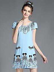 Women's Elegant Plus Size Cute Sequins Tassel Cartoon Embroidery Short Sleeve Dress