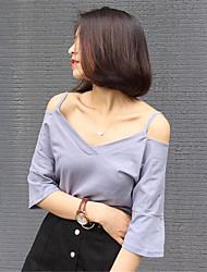 Damen Solide T-shirt - Polyester Kurzarm Gurt