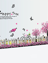 Romance Cerasus Happy Tree Flower Fence Wall Stickers PVC DIY Skirting Line Wall Decals