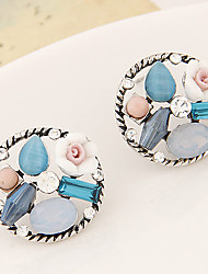 Earring Flower Stud Earrings Jewelry Women Fashion / Vintage Party / Daily / Casual 1 pair Silver