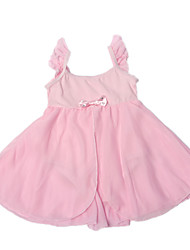 Pink Sleeveless/High Waist Ballet Dress/Fashion Girls' Princess Dancing Leotard with Ruffle Chiffon Tulle Shoulder