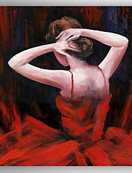 Pintados à mão Pessoas Modern,1 Painel Hang-painted pintura a óleo