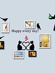 Romance Happy Every Day Lovely Cat Wall Stickers Match Photo DIY Wall Decals