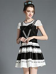 retro vintage, plus la taille arc patchwork bande creuse impression des femmes aofuli faux robe à manches courtes en deux parties