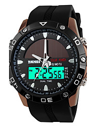 Men's Solar Power Analog Digital Dual Time Rubber Band Waterproof Sports Watch