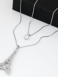 Femme Pendentif de collier Collier multi rangs Tour Zircon Imitation de diamant Mode Couche double Argent Bijoux PourSoirée Quotidien
