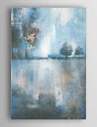 pintados à mão pintura a óleo do lago abstrato no crepúsculo com esticada quadro arts® 7 parede