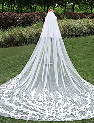 Wedding Veil Two-tier Cathedral Veils Cut Edge Tulle Lace Ivory