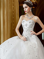 A-line Wedding Dress Floor-length Sweetheart Tulle with Appliques / Beading / Crystal / Ruffle