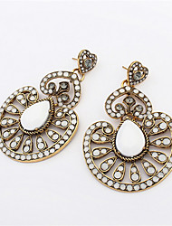 2016 New Fashion Vintage Silver Long Ethnic Bohemian Earrings For Women Flowers Crystal Drop Earrings