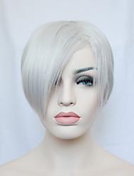 côté court de la mode cogne la chaleur droite fibre résistante femmes gris sexy pleine perruque