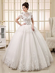 Princess Wedding Dress See-Through Floor-length Jewel Tulle with Beading