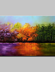 Large Hand-Painted Modern Landscape Trees Oil Painting On Canvas One Panel With Frame Ready To Hang