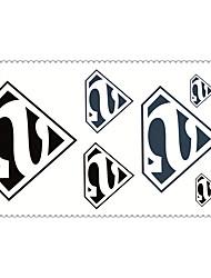 Fashion Temporary Tattoos Superman Sexy Body Art Waterproof Tattoo Stickers 5PCS (Size: 2.36'' by 4.13'')