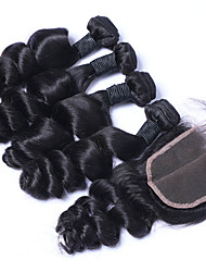 Peruvian Virgin Hair Loose Wave with Closure Human Hair Weft With Closre 3bundles Loose Curly With Lace Closure