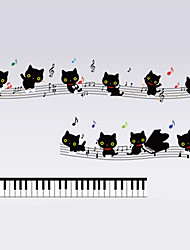 Black Cats Piano With Note Cartoon Wall Stickers Fashion PVC Bedroom Wall Decals