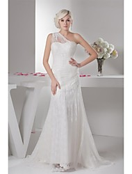 Trumpet / Mermaid Wedding Dress Sweep / Brush Train One Shoulder Lace / Satin / Tulle with Lace / Ruche
