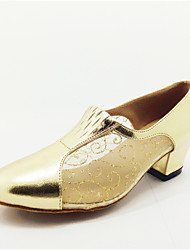 Customizable Women's Dance Shoes Latin Leatherette Flat Heel Gold