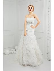 Sereia Vestido de Noiva Cauda Corte Coração Organza com Miçanga