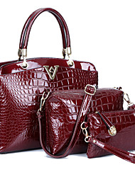 Women PU / Patent Leather Formal / Casual / Office & Career / Shopping Tote / Bag Sets Blue / Red / Black / Burgundy