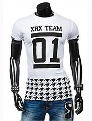 Tee-Shirt Pour des hommes Mosaïque / Lettre Décontracté Manches Courtes Coton / Polyester Noir / Blanc
