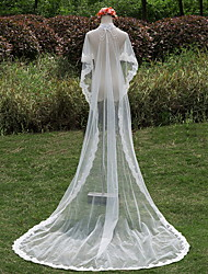 Wedding Veil One-tier Chapel Veils Lace Applique Edge Tulle / Lace Ivory Ivory